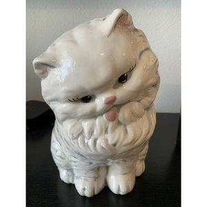Large Vintage Ceramic White Persian Cat Statue 10""